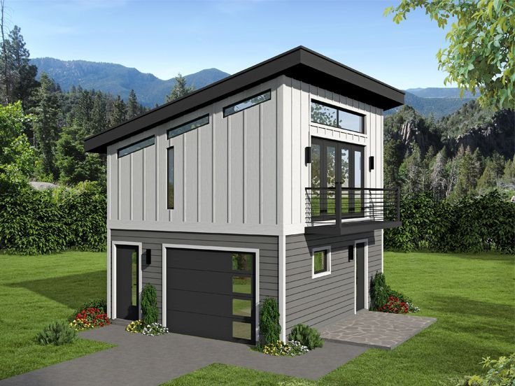 062g 0145 Modern 1 Car Garage Plan With Loft Garage Plans With Loft Carriage House Plans House Plan With Loft