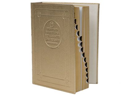 The Merriam Webster dictionary in gold goat leather. I want it baaaaad.
