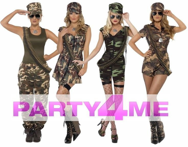 LADIES ADULT CAMO SEXY SOLIDER ARMY FANCY DRESS COSTUME PLAYSUIT KHAKI COMBAT #Smiffys #Camouflage