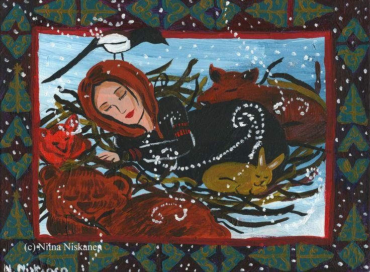 Goddess Art Original Acrylic Painting Finnish Mythology Winter Sleep Forest Goddess with Animals