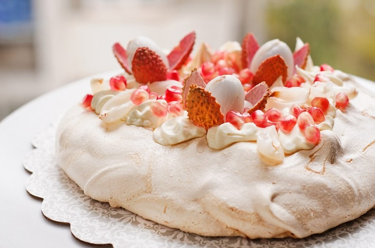 Coffee Pavlova with cardamon mascarpone cream, Pomegranate and litchi.