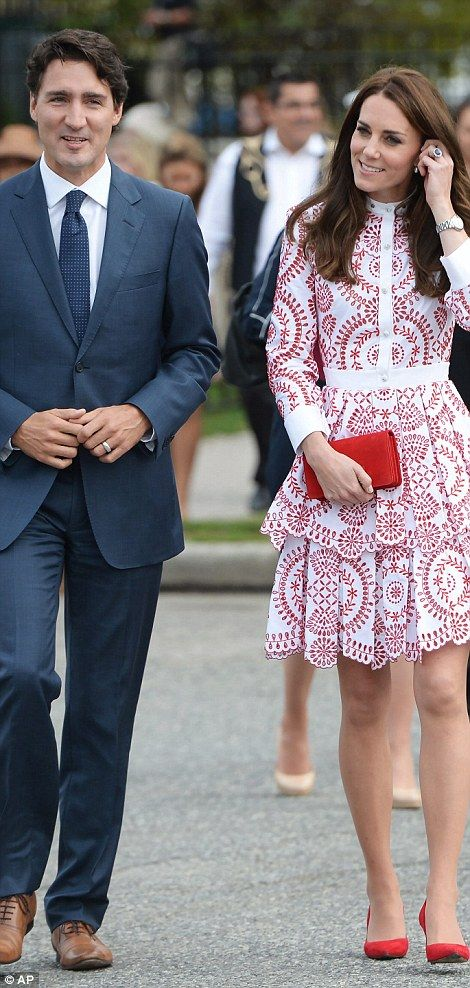 The Duchess of Cambridge pulled out all the fashion stops in an eye-catching designer dress as she joined Prince William in Vancouver on the second day of their tour of Canada.