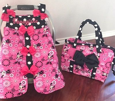 Brand New Minnie Mouse Handmade Baby Infant Car Seat Canopy Diaper Bag