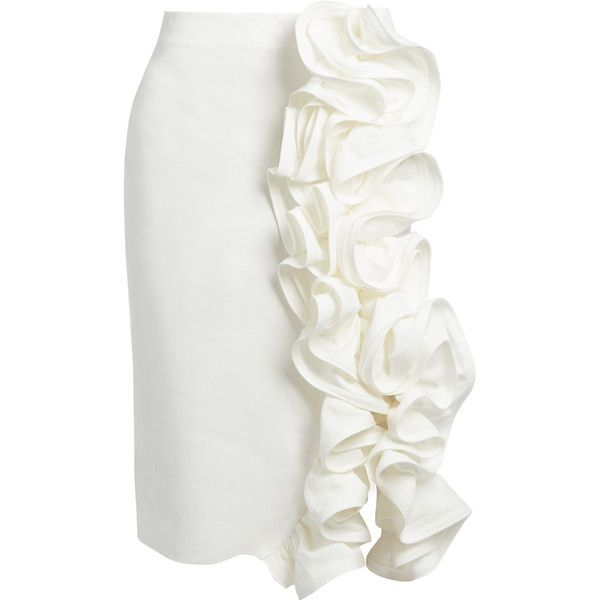 Brock Collection Stacey ruffled linen pencil skirt ($2,190) ❤ liked on Polyvore featuring skirts, white, linen pencil skirt, ruched pencil skirt, pencil skirt, gathered skirt and white ruffle skirt