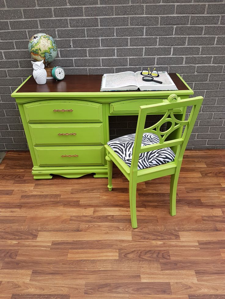 Lick of Lime Van Gogh Chalk Painted Desk and chair dustbinrevival.com