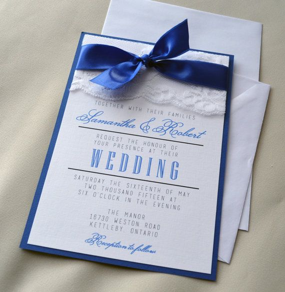 Royal Blue Wedding Invitation White and Royal by IvoriePaperie