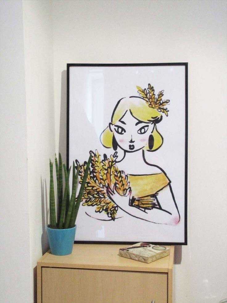 Eté. Illustration de Margot LATHIERE.  Impression d'après un original à l'encre de chine et pastels. Parfait pour votre déco intérieur.