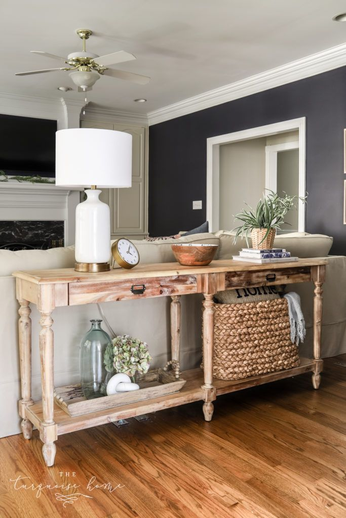 How To Style A Console Table Behind A Couch 4 Ways In 2020 Table Decor Living Room Table Behind Couch Sofa Table Decor