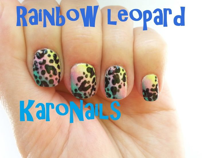 Rainbow leopard nail art tutorial by KaroNails