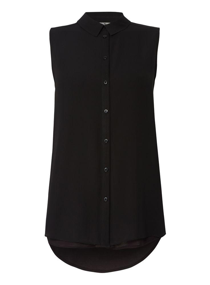 "With its layered design and a sleeveless finish, this shirt will take you seamlessly from day to night. Perfect for teaming with structured trousers and skirts.<br /><ul><li>Black layered sleeveless crepe shirt</li><li>Sleeveless</li><li>Button fastening</li><li>Layered design</li><li>Model's height is 5'11""</li><li>Model wears a size 12</li></ul>"