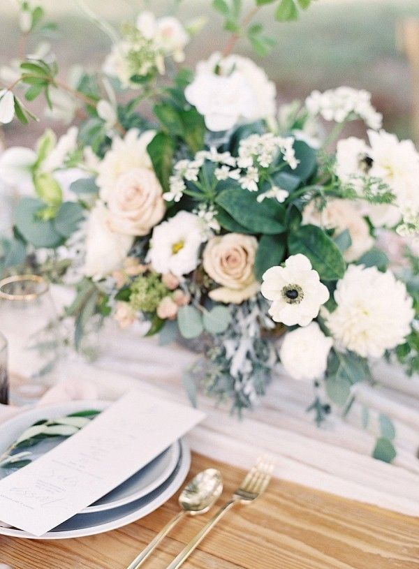 White and Blush Floral Centerpiece | Allison Kuhn Photography on @bajanwed via @aislesociety