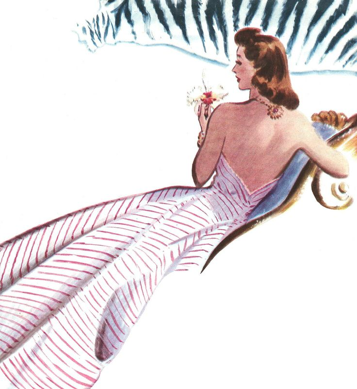 Antique Images: Free Retro Graphic: 1940 Women's Fashion Clip Art from Vintage Car Catalog Red-Striped Dress