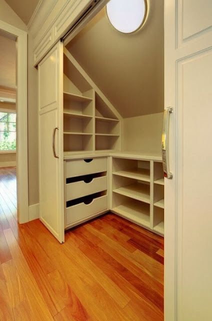attic closet idea/space efficiency/closet with pocket doors