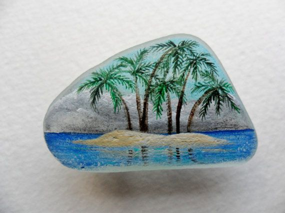 Tropical paradise sea glass brooch - hand painted English sea glass with a secure clasp via Etsy