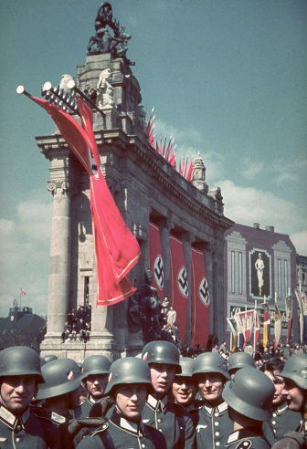 The Ost-West-Achse (East-West Axis) in Berlin, site of a massive rally and parade in celebration of Adolf Hitler's 50th birthday, April 20, ...