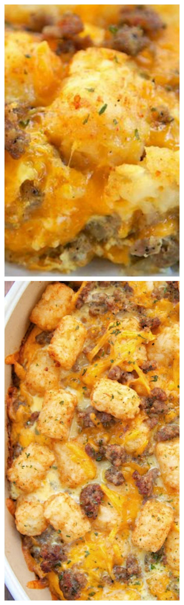 Tater Tot Sausage Breakfast Casserole ~ Great make ahead recipe... Sausage, cheddar cheese, tater tots, eggs, milk, garlic, onion and black pepper - Great for breakfast. lunch or dinner. Everyone loves this easy breakfast casserole!!