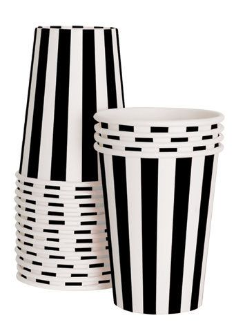 Black Stripe Paper Cups by HooplaEvents on Etsy