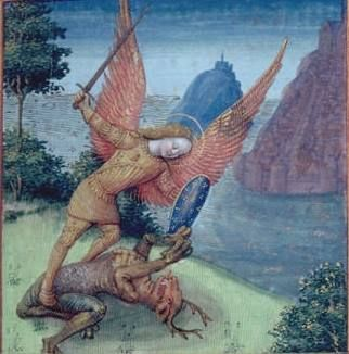 Sf. Mihai a/k/a St. Michael and dragon, 15th century. Bibliothèque municipale de Lyon  #archangel #archangelmichael