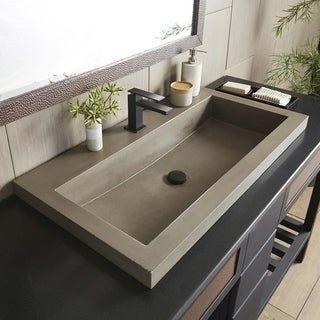 36″ NativeStone Trough Undermount/ Drop-in Rectangular Bathroom Sink – 36″ x 19″ x 5″ (Ash – Single Faucet Hole), Grey – Single Faucet Hole, Native