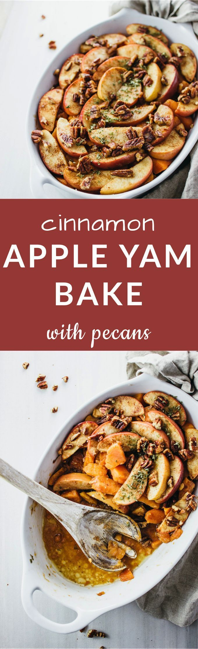 This is a savory-sweet cinnamon apple yam bake, with delicious roasted sweet potato chunks layered between thinly sliced cinnamon-coated apples and crunchy toasted pecans.