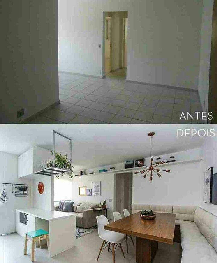 Antes/Depois - Remoção de parede amplia e ilumina.