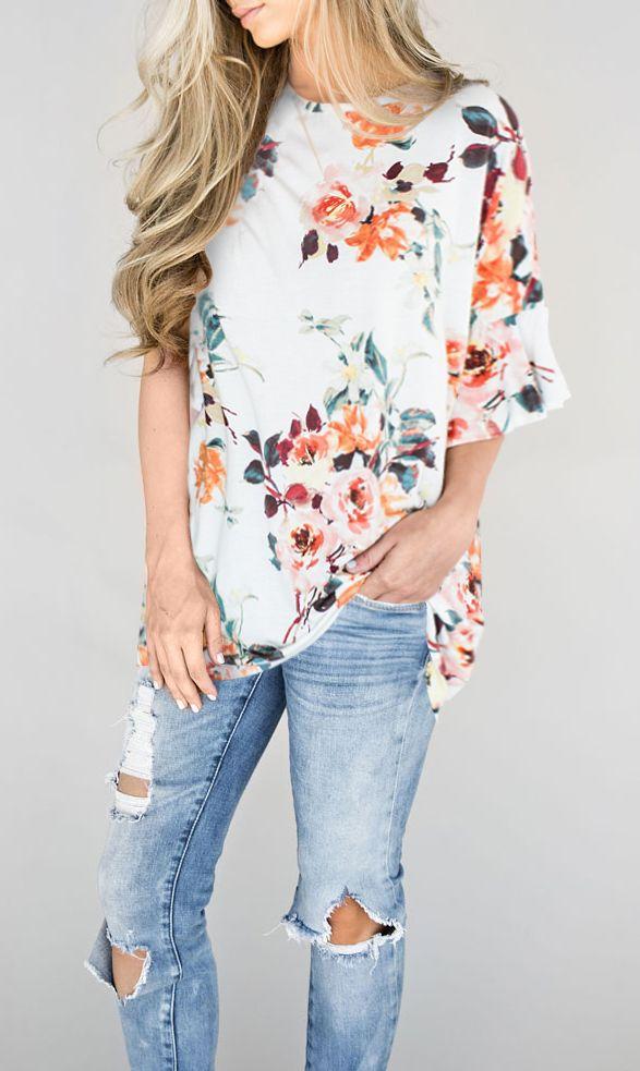 $27.99 Chicnico Cute Over Size Round Neckline Floral Print Top