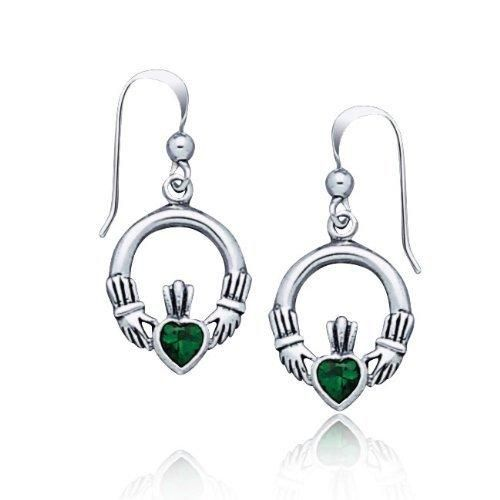 Bling Jewelry Celtic Emerald Color Claddagh Heart Earrings 925 Sterling Silver