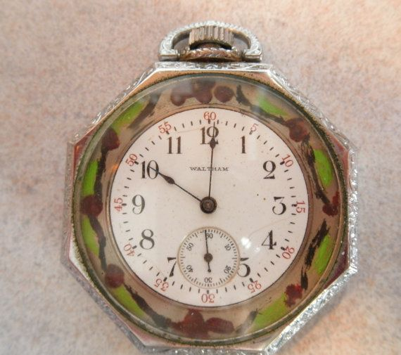 Beautifully designed & hand -painted octagon shaped antique Waltham Art Deco Art Nouveau pocket watch, may also be worn as a pendant watch. The