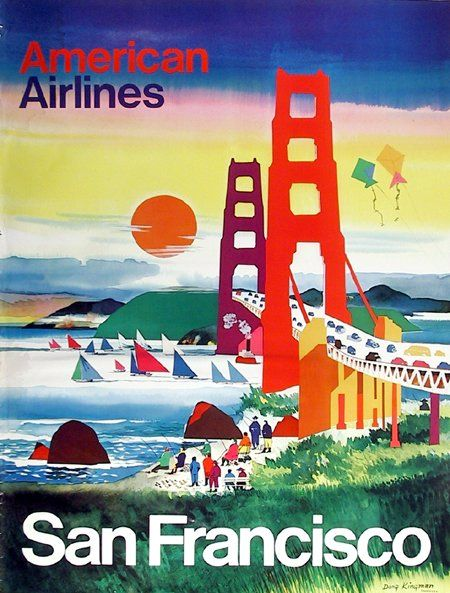 American Airlines: San Francisco (c.1970) | Dong Kingman, American (1911 - 2000) | http://www.pinterest.com/richtapestry/vintage-posters/