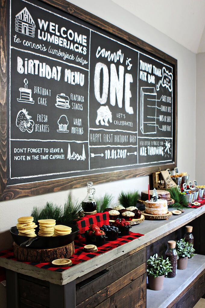 This rustic/industrial DIY Coffee Bar with a large chalkboard is a great piece to display food for parties!