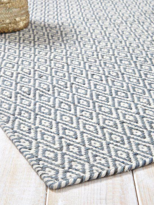 Teppich, Rautenmuster, reine Wolle Graublau