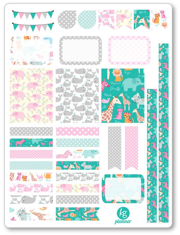 Cute Zoo Decorating Kit / Weekly Spread Planner Stickers