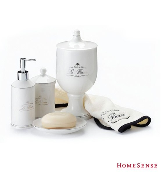 Beautiful soap dispenser and toiletry holders. #bathroom #storage #ideas  /Joli distributeur de savon et supports pour articles de toilette. #salledebain #rangement #idées www.HomeSense.ca