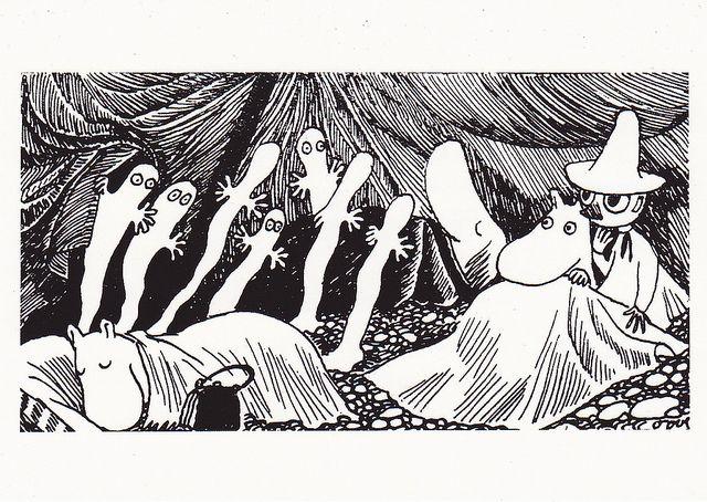 """""""Muumipeikko tuijotti pimeyteen. Siellä oli jotakin! Pieniä valoja... Valjusti hohtavia olentoja,jotka tassuttelivat edestakaisin nukkuvien välissä. Muumipeikko ravisti Nuuskamuikkusen hereille."""" Taikurin hattu"""
