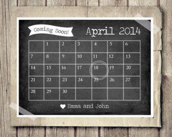 Pregnancy Announcement Calendar - Baby Announcement News - Chalk Calendar - Printable Pregnancy Announcement DIY PRINT Chalkboard Pregnancy