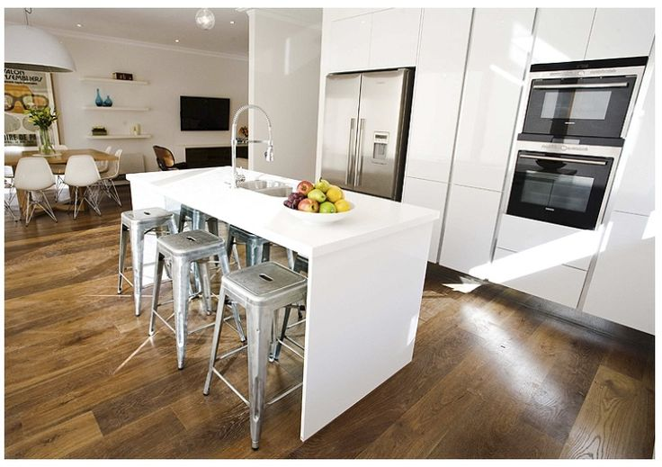 White kitchen wooden floors