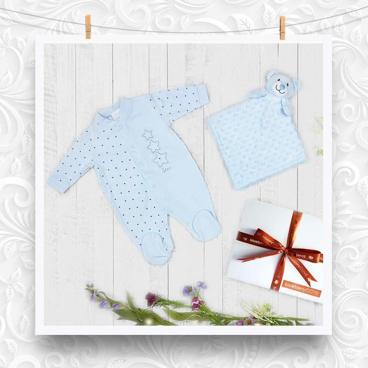 Baby Boys Gift 'Triple Stars' contains a cotton sky blue sleepsuit and an ultra soft baby comforter. This baby boys gift set comes packaged in a luxury gift box with ribbon. Prices include delivery and personalised message.#babyboy #gifts #baby #uk #delivery #blue #newborn