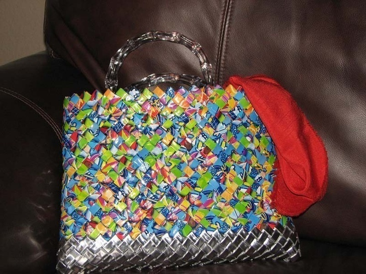 Capri Sun Pouch Purse - version of the candy wrapper purse - no pattern - just an idea - must have taken a LOT of CapriSun pouches!!