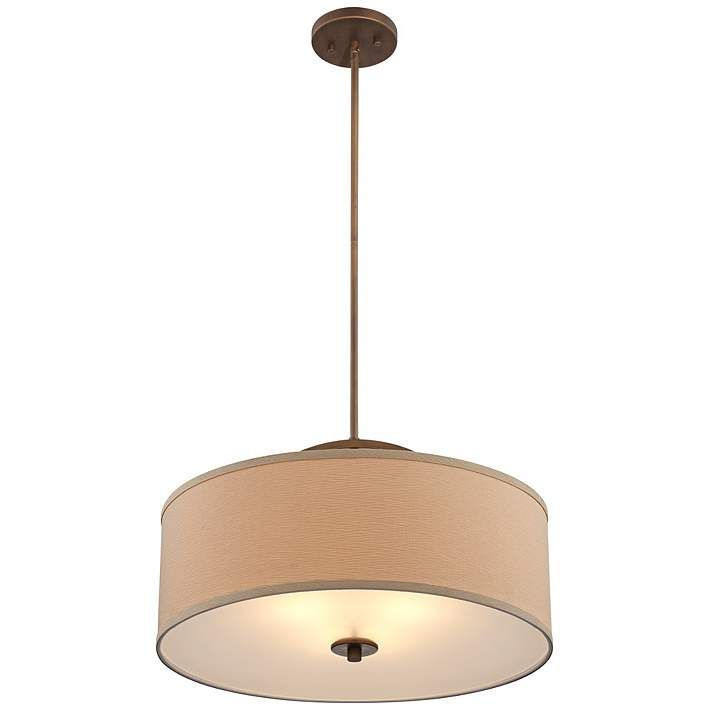 "Danville Linen Shade 20"" Wide Brushed Bronze Pendant Light"