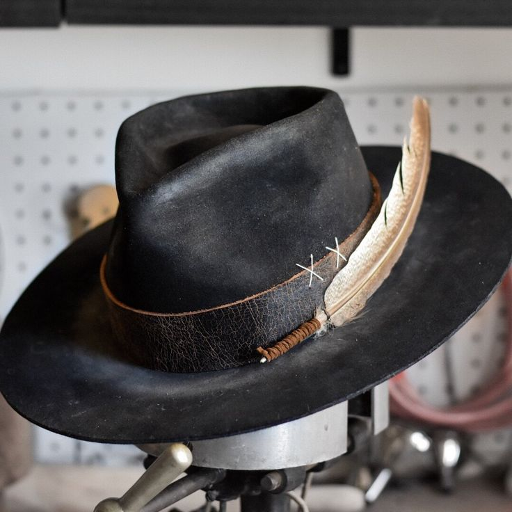 western weight, lightly distressed with aged leather strap and feather detail Rugged Style, Mens Western Hats, Dope Hats, Leather Hats, Custom Hats, Leather Accessories, Fashion Accessories, Hats For Men, Hat Men