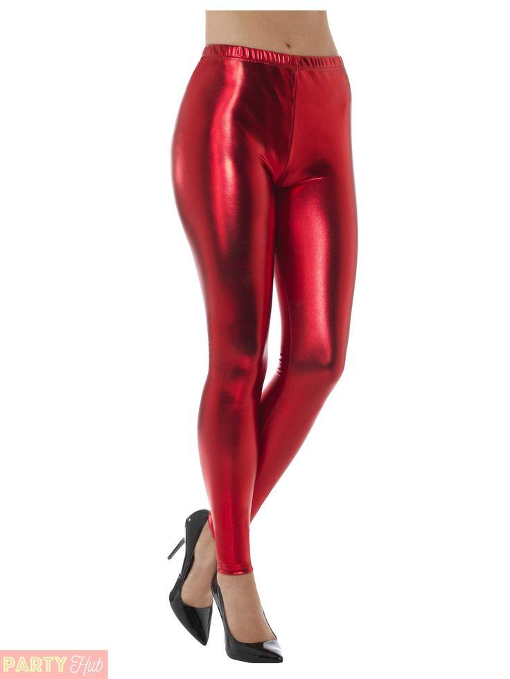 Ladies-80s-Metallic-Leggings-Adult-Disco-Fancy-Dress-Costume-Womens-Retro-Outfit