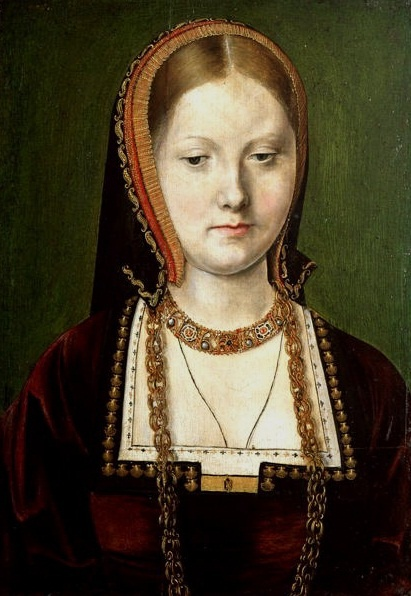 Katherine of Aragon Nice to see this portrait of her with blonde hair. She wasn't dark-haired as it is shown in all the movies about Henry VIII. and her.