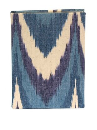76% OFF Aviva Stanoff Gilt-Edged Ikat Keepsake Wide-Ruled Journal, Blue Chevron
