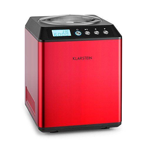 Klarstein Vanilla Sky Machine à crème glacée (compresseur de réfrigération 180W, capacité de 2L, préparation en 30 à 40min) – rouge:…