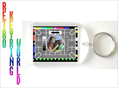 Retro TV keyring / keychain. Vintage BBC testcard £1.99 with free UK postage and  packaging, low cost worldwide shipping