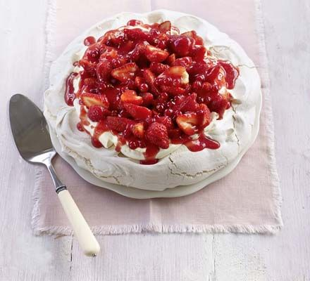 An elegant pavlova. A lovely way to use fresh strawberries in a pudding.