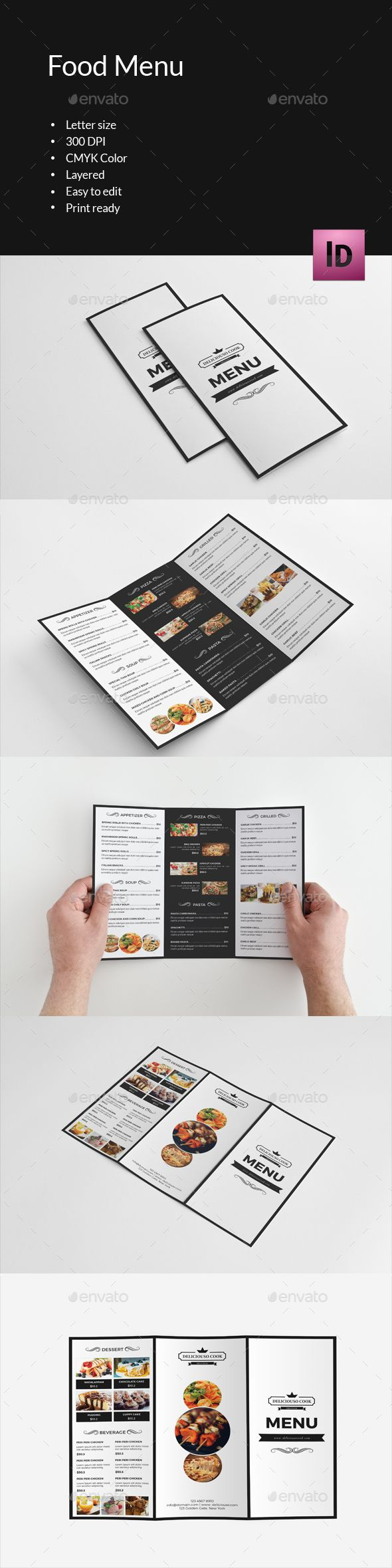 Trifold Brochure for Food Menu Template InDesign INDD. Download here: https://graphicriver.net/item/trifold-brochure-for-food-menuv289/17600604?ref=ksioks