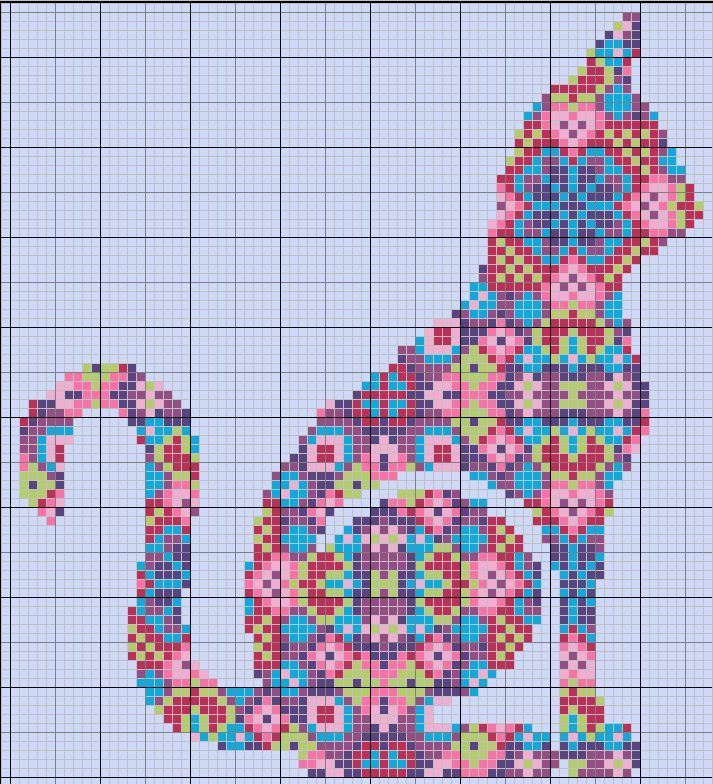 Flower Cat. Chart & Color Key.