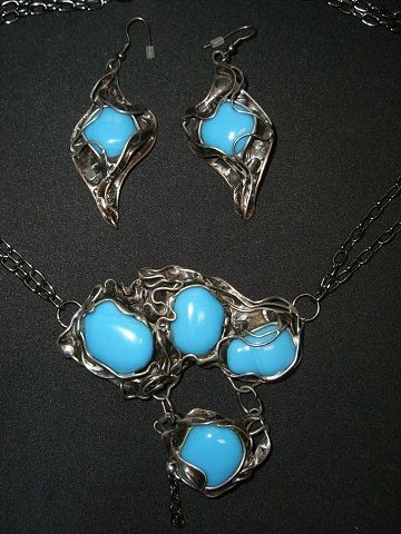 necklace and earrings, fused glass, cooper, tinned, 2011, Seemoon