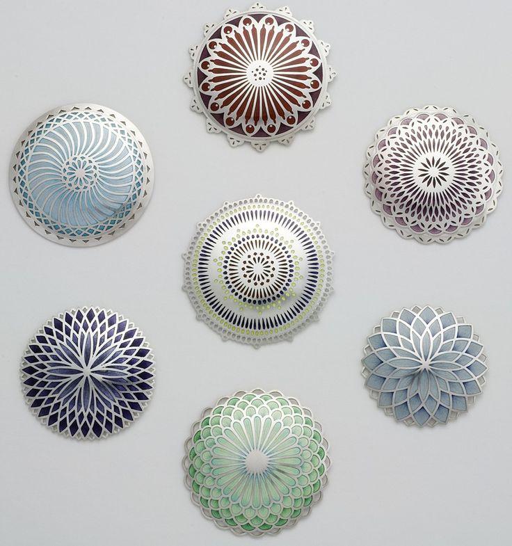 Brooches | Jasmine Watson 'Mandalam Series',  Silver, champlevé enamel
